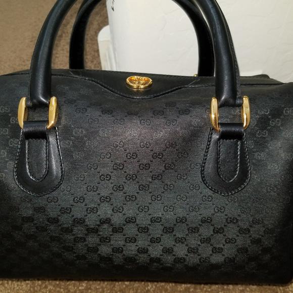 80162e9e8d7 Gucci Handbags - VINTAGE GUCCI MICRO GG BLACK BOSTON SATCHEL